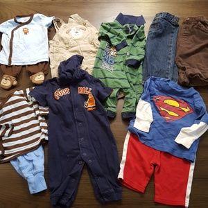 BUNDLE of 6-9 mo. Baby Boy Clothes Monkey Dog Dino